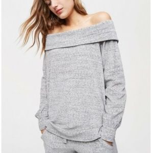 LOFT Off Shoulder Velour Top PXXS $50.00 Grey
